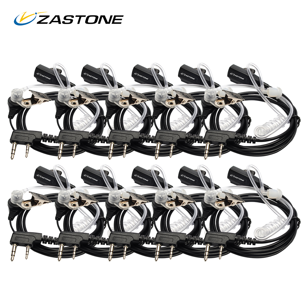 10pcs Zastone Air Acoustic Tube Earpiece Earphone Headphone Microphone For Ham CB Radio PMR446 For Baofeng  Zatone Walkie Talkie
