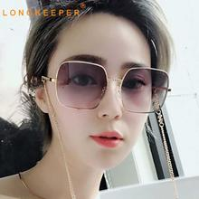 LongKeeper Oversize Sunglasses Women Square Gradient Color Glasses Female Anti-glare Metal Eyewear trendy Gafas Oculos trendy women s clutch bag with metal and gradient color design