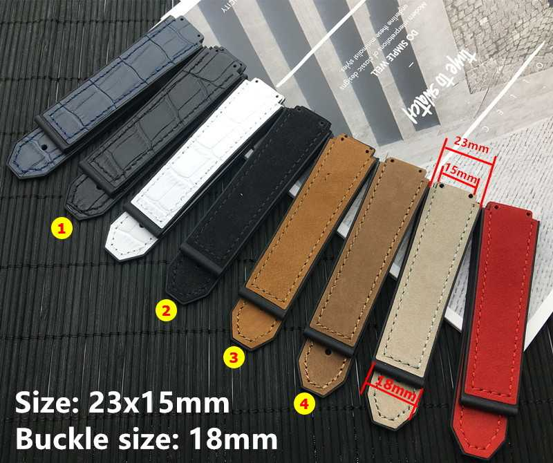 Convex Watch belt 23*15mm 20mm buckle real Nubuck Leather band For Hublot Strap Watchband Belt Logo on free tools
