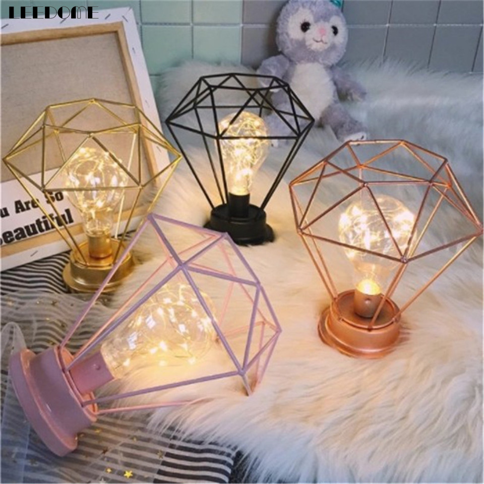 Usb led table lamp firework line light desk lamp for bedroom novelty dropship creative bedroom study decoration table lamp iron wire welding diamond style aa battery powered portable greentooth Images