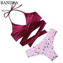 BANDEA бикини 2017 Push Up Купальники Падение Цветочный Крест Bikinis Set Крест Бразильское Бикини Женщины Купальник Холтер Купальный Костюм