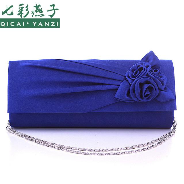 QICAI.YANZI 2017 Satin Women's Chain Flower Evening Party Prom Wedding Bag Lady Coin Purse Wallet Handbag Shoulder Bag Gift N560