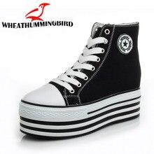 afef472fa Cunhas Sapatas de Lona Calçados Vulcanizados Sapatos de Plataforma Mulher  Calcanhar Escondido Altura Crescente Sapatos Casuais