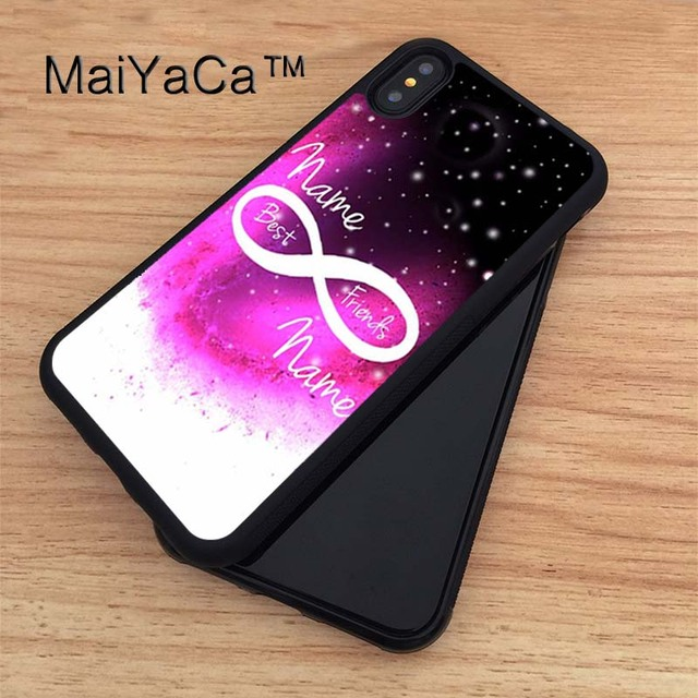 new products 0d9ca d1467 US $4.28 5% OFF|MaiYaCa Best friends BFF forever infinity personalised name  Soft Rubber Fitted Cases For iPhone X Cover For Apple iPhone X Case-in ...