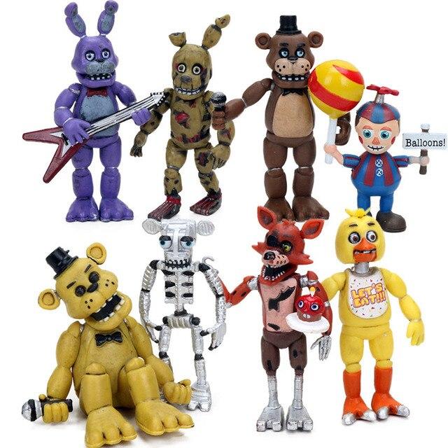 4 pz 4 delle Cinque Notti a Freddy Serie di Azione PVC Figure Set 4.5 6.5 cm Freddy Fazbear Bonnie chica Foxy Sorella Posizione Bambole