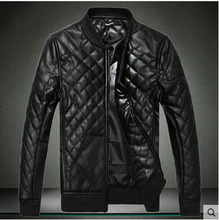 Black Coffee Short Men S Korean Pu Leather Jacket Large Size Stand Collar Cotton Padded Leather