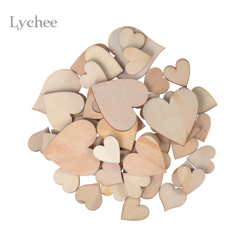 Lychee 50 pieces lot blank unfinished wooden heart crafts for Unfinished wood pieces for crafts