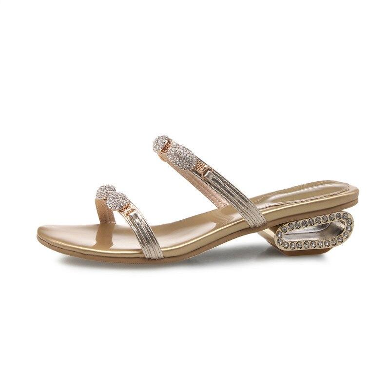 Luxury Donna Pura Pelle Di Da Punta Dei Il Prodotto oro Nero Handmade Pantofole Diamond In Scarpe Donne Sandali Vera x1vAnq