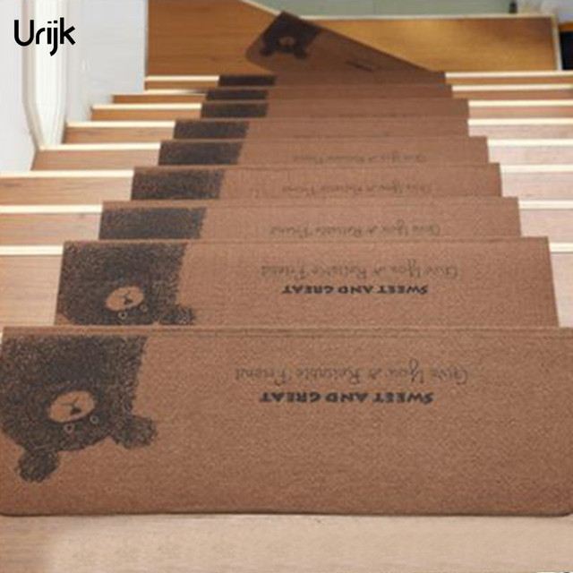 Urijk 1PC Anti Slip Stairs Mat Cartoon Coffee Bear Pattern Carpet Kids Room  Warm Floor
