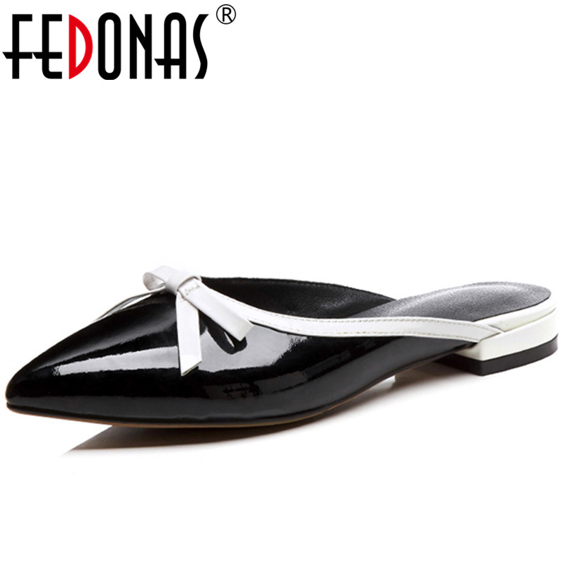 FEDONAS Female Sandals Shoes Woman Genuine Leather Summer Sandals Ladies Bowtie Low Heels Comfortable Sandals Summer Slippers fedonas women sandals soft genuine leather summer shoes woman platforms wedges heels comfort casual sandals female shoes