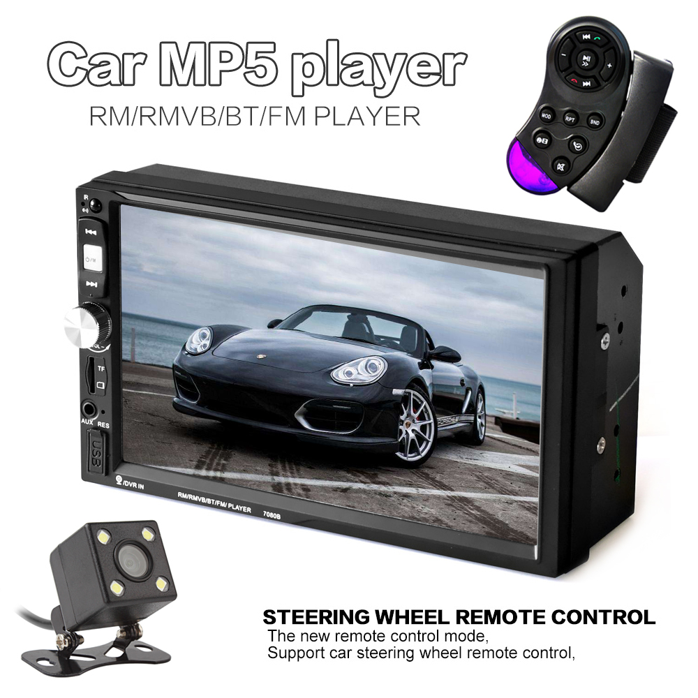 7 inch 2 Din HD Touch Screen Bluetooth Car Audio Stereo MP5 Player Support AUX USB TF Phone + Rearview Camera + Remote control 7 inch hd touch screen 2 din bluetooth auto car audio stereo fm mp5 player support aux usb tf phone reverse rearview camera