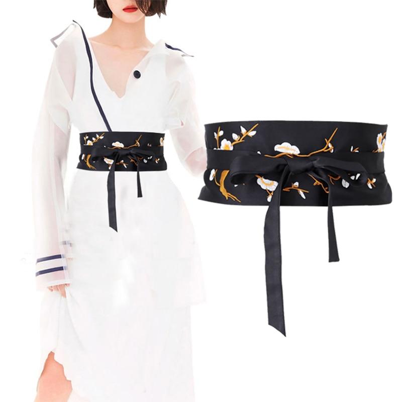 2020 Chinese Kimono Belt Style Women's Set Cross Tie Black Belt Pleated