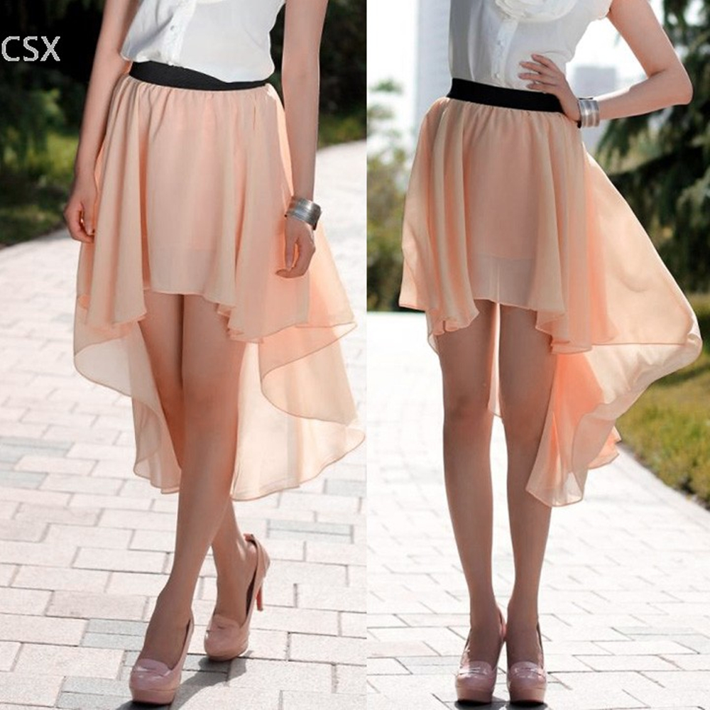 MwWiiWwM New Excellent Maxi Skirt Fashion Long Bohemian Princess Pleated Asymmetrical Women Skirt Classic Chiffon Skirt 35