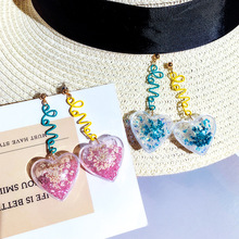DREJEW Blue Pink Love Heart Rhinestone Statement Earrings 2019 925 Alloy Drop for Women Wedding Fashion Jewelry HE1431