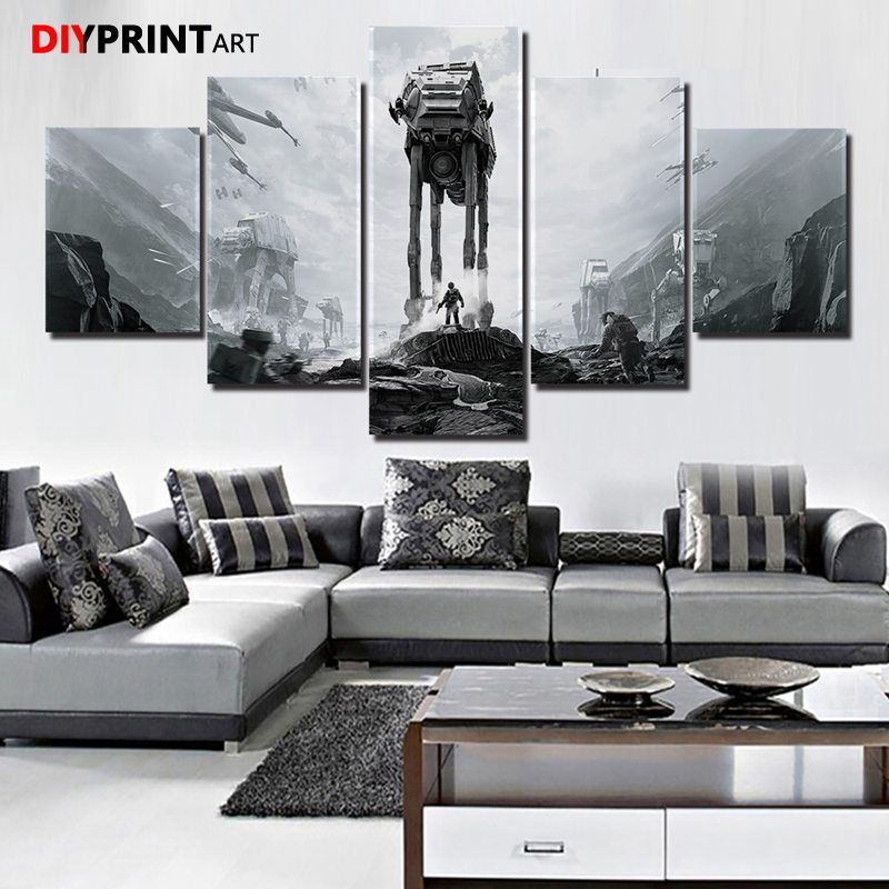 Movie Paintings Canvas Wall Art StarWars Game Poster 5 Panels Modern Art Living Room Decorations for Home image