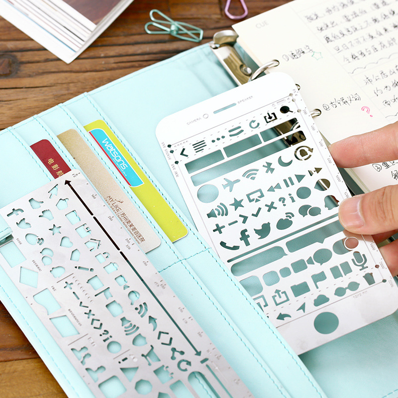 Creative Iphone 6/6s Plus WEB UI Cutout Drawing Stencils Metal DIY Ruler Bookmark For Notebook Planner Sketch Stainless Steel