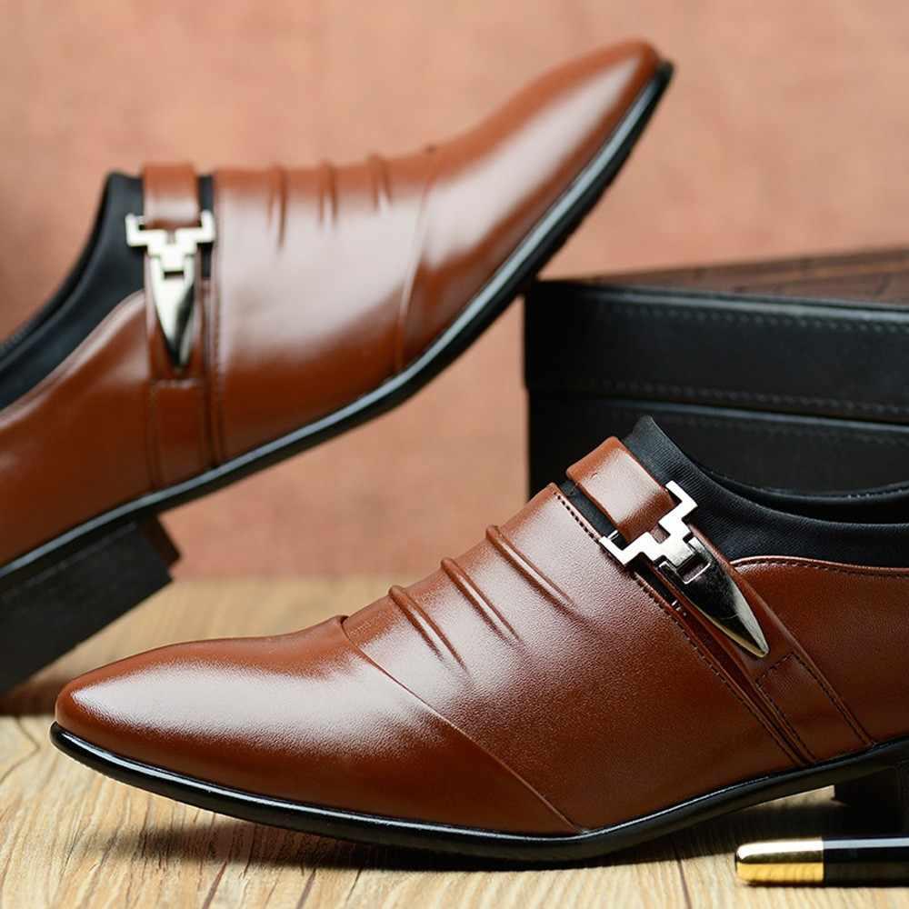 Yeni Erkek Brogue Elbise Ayakkabı Iş deri ayakkabı Büyük Boy Oyma İtalyan Resmi Oxford Kış pu elbise Ayakkabı 2018 D4