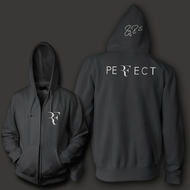 Roger Federer signature RF logo perfect men women unisex zip up hoodie Sweatshirt hoody Free Shipping