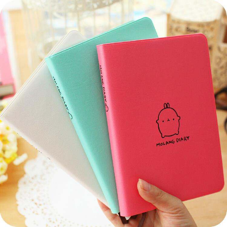 Molang Rabbit Cute 2019 Monthly Weekly Planner Agenda Organizer Faux Leather Diary Journal Study Notebook creative art fashion a6 journal planner book weekly monthly daily page blank paper pu leather diary notebook gift free shipping