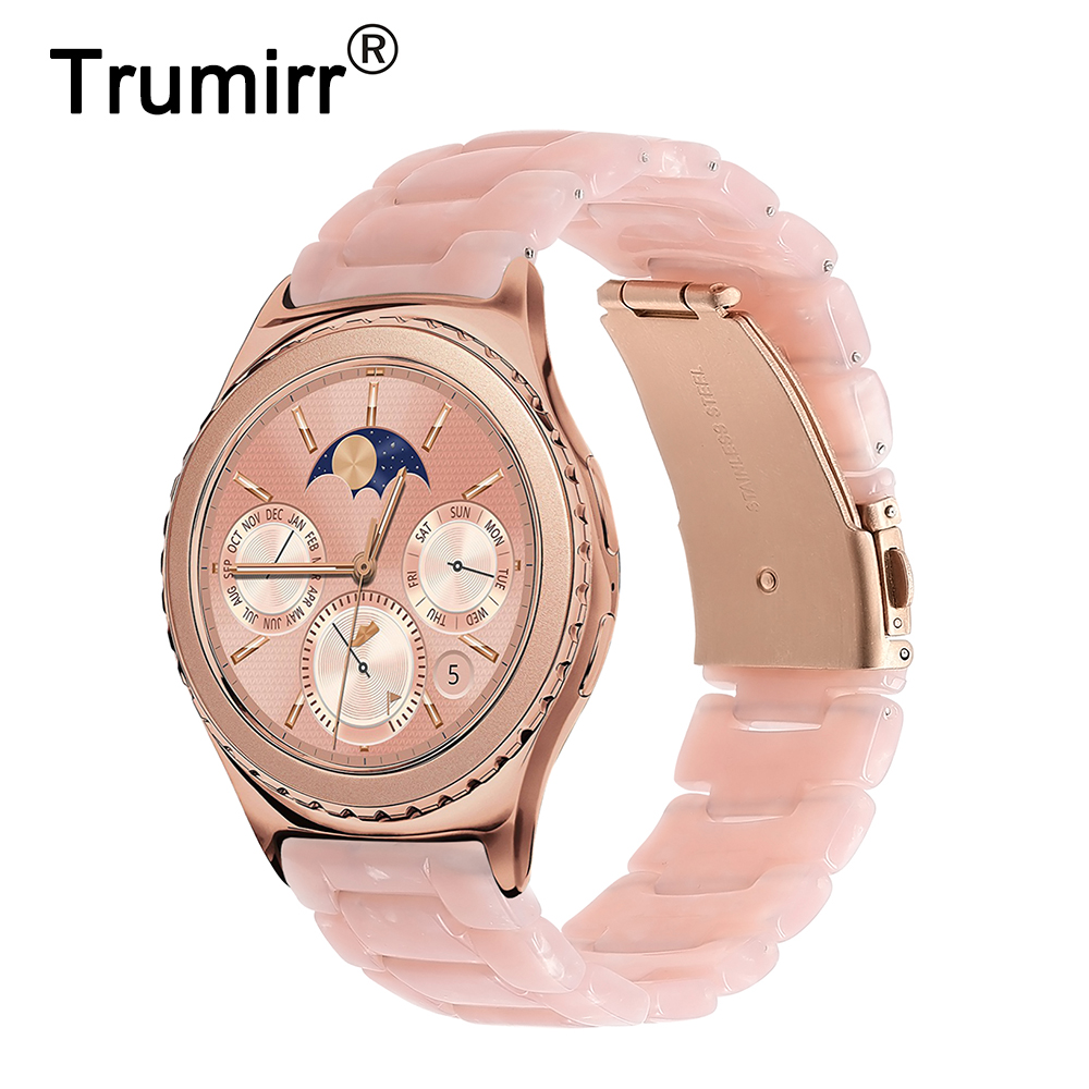 Women Resin Watchband 20mm for Samsung Gear S2 Classic (SM-R732/R735) Galaxy Watch 42mm (SM-R810/R815) Quick Release Band Strap смарт часы samsung gear s2 classic sm r732 черный sm r7320zkaser