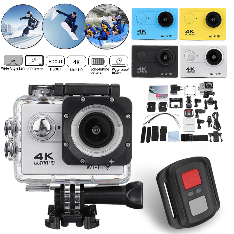 Remote Control Action Camera Waterproof 4K 1080P 2.0 LCD Ultra HD Screen WiFi 30M 170D DVR Cam Underwater Mini Camcorder Video цена