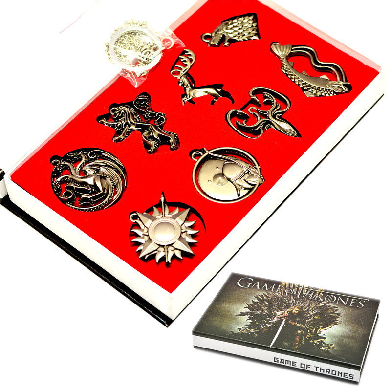 8pcs/set Game of Thrones Badges Brooch Necklace Metal Pendant Ring Brooches PVC Action Figure Cosplay Toys цена