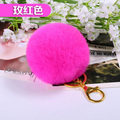 14 Colors 8CM Genuine Rabbit Fur Ball pompons Fur Keychain Gift Keyrings pom pom Key chain For Keys bag pendant  Free shipping