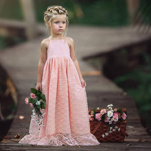 Summer Lace Flower Girl Backless Long Dress