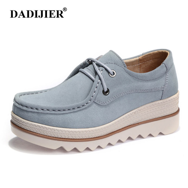 7ab35f0164d DADIJIER 2018 Autumn women flats female leather suede platform sneakers  shoes lace up casual flat creepers moccasins shoes ZLL26