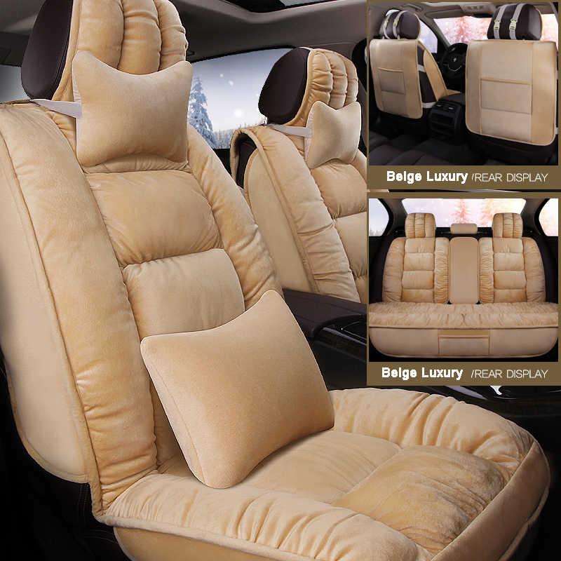 Araba koltuğu kapakları faux kürk sevimli kış yeni peluş Hyundai solaris için ix35 i30 ix25 Elantra accent araba iç aksesuarları yastık