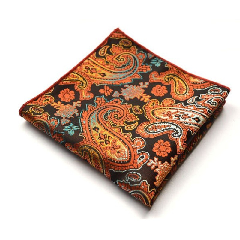 Paisley Floral Silk Satin Pocket Square Hanky Jacquard Woven Classic Wedding Party Handkerchief