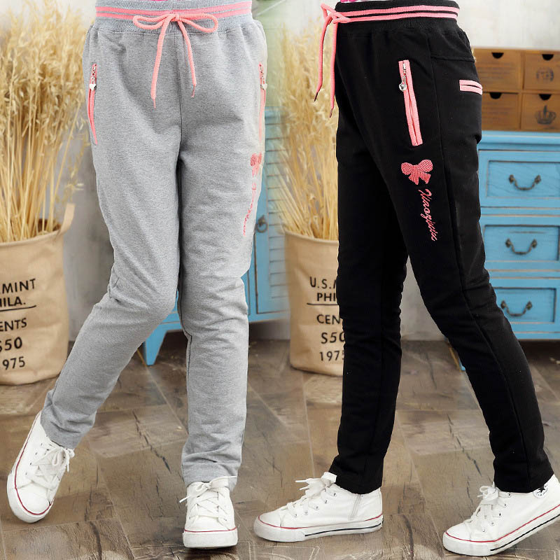 Big Girls Sports Pants Children Spring Autumn 2017 Child Embroidery Knit Trousers For Girl 8 10