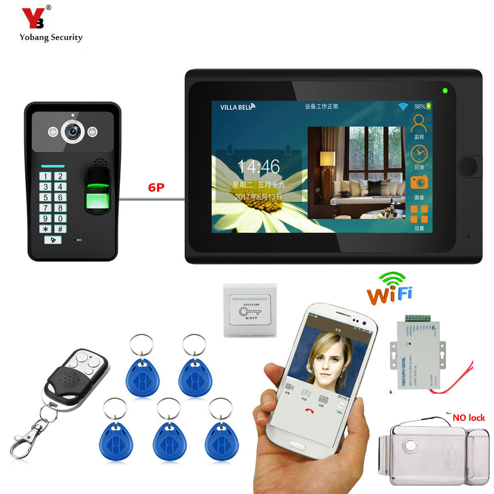 Yobang Security DHL 7inch Wired / Wireless Wifi Fingerprint 5 pcs RFID Password Video Door Phone Doorbell Intercom Entry System