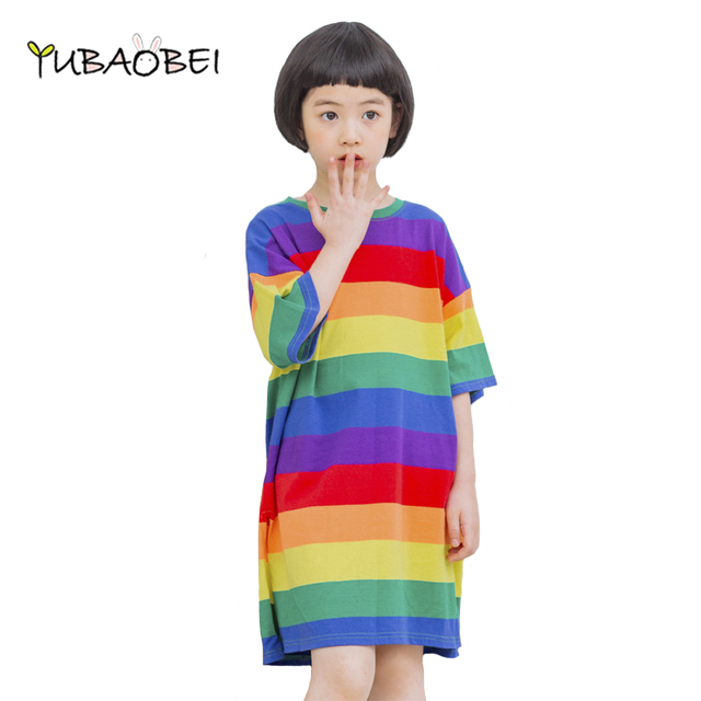 4e5d042e2 Rainbow Children's Dress 2019 Summer Big Girls LongShirts Short Sleeve  Casual Individuality Korean Teenager Dress