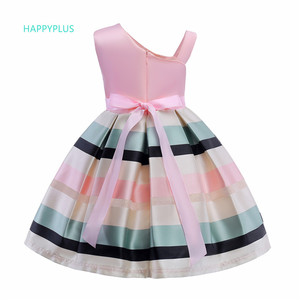 Image 2 - HAPPYPLUS 스트라이프 아이 드레스 여자를위한 패션 아이 드레스 저녁 무도회 한 어깨 핑크 드레스 소녀 공주 여름 2018