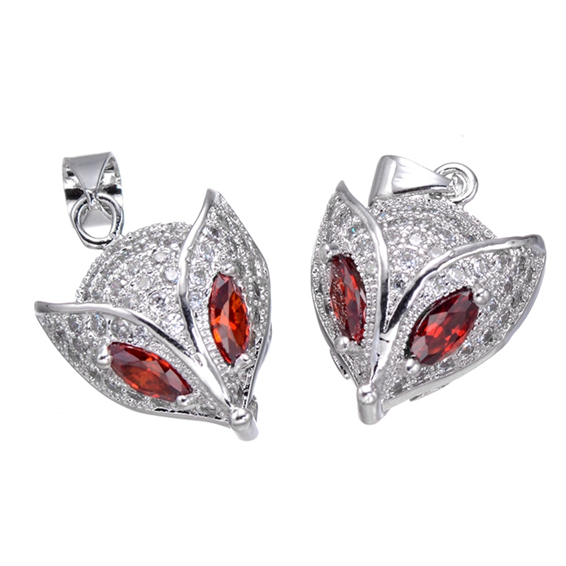 Supplies For Jewelry Wholesale Micro Pave Zirconia Rhinestone Crystal Red Eye Animal Fox Pendant Charms For Jewellery Making