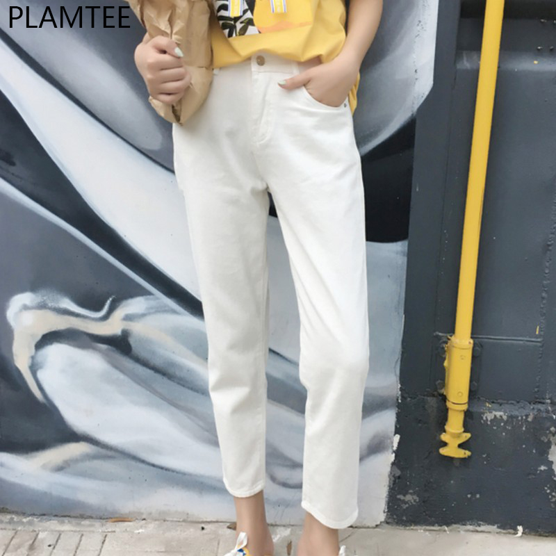 PLAMTEE Plus Size 25~32 Solid Women Jeans Fashion 2017 High Waist Jeans Pencil Pants Casual Ankle-Length Denim Trousers Female high waist jeans women plus size femme stretch slim loose large size jeans pants 2017 casual ankle length haren pants trousers