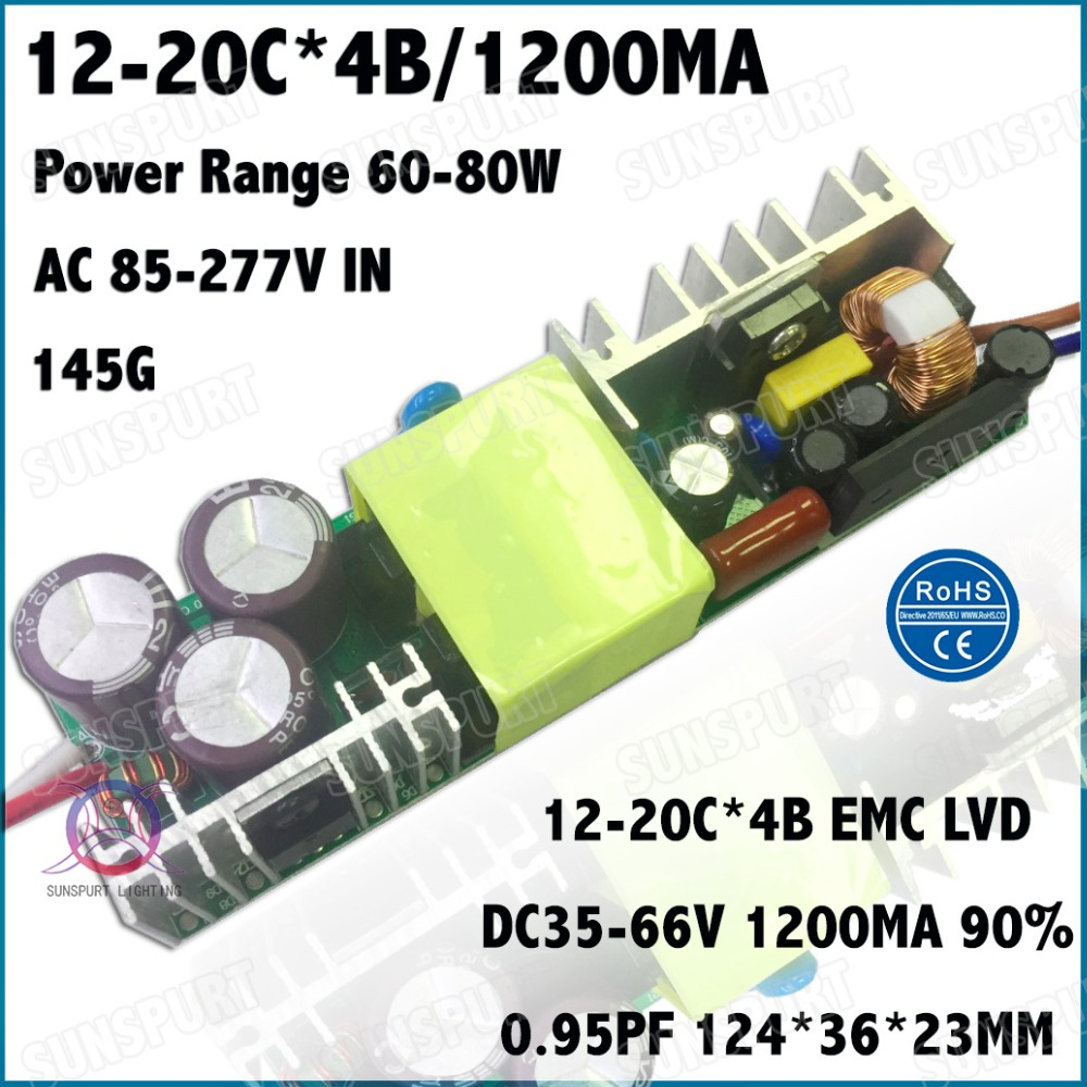 2 Pcs By TUV-EMC LVD 80W AC85-277V LED Driver 12-20Cx4B 1200mA DC35-66V Constant Current LED Power For Floodlight Free Shipping