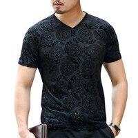 Velvet silk black royal blue t shirt slim fit fashion pattern velvet tee shirt homme see through summer cool short sleeve tshirt
