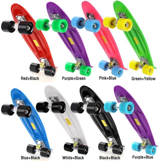 Горячая многоцветный Профессиональный унисекс полный скейтборд палубы дети двойной дракон скейтборд мини детей Пластик Скейтборды Лидер продаж