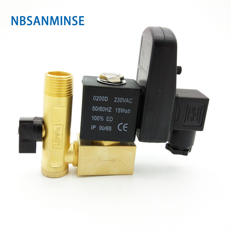 Nbsanminse Sr A 15 Electronic Drainer G1 / 2 1.6mpa Exhaust Valve Water Drainer Water Valve Dc24v Ac220v High Quality