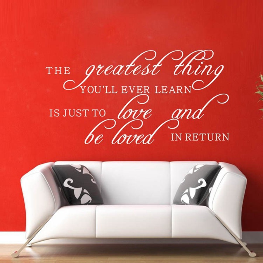 The greatest thing, You'll Ever Learn Is.. Wall Decals Romantic Family Quotes Vinyl Wall Sticker For Home Living Room Decor image