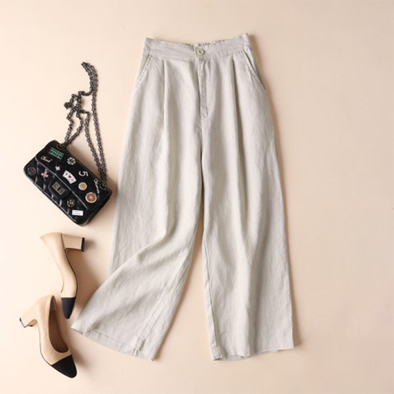 2018 Women Summer Autumn Elastic Waist Solid   Wide     Leg     Pants   Loose Cotton Linen Pantalon Casual Pockets Baggy Trousers Plus Size