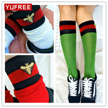 1PCS Thigh High Sexy Cotton Red Green stripes Bee embroidery the knee Stocking Women's Striped Girl Lady Stockings WA-123
