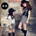 Menina do verão de Manga Curta Pena Listra Preto E Branco Apertado T-camisa-Shorts Terno Crianças 2 Peças de Roupas conjuntos de 2 Cor