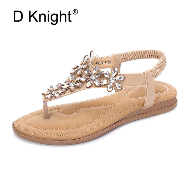 95efe273ceec0 Bohemian Women Flat Sandals Shoes Crystal Flower Thong Female Flip Flops  Beach Sandals Roman Nude Casual