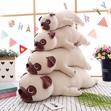 Yeni sevimli hayvan Kawaii köpek bebek yastık bebek uyku doğum günü hediyesi çocuk kız yumuşak yatıştırmak Pug Stuffedl 55cm