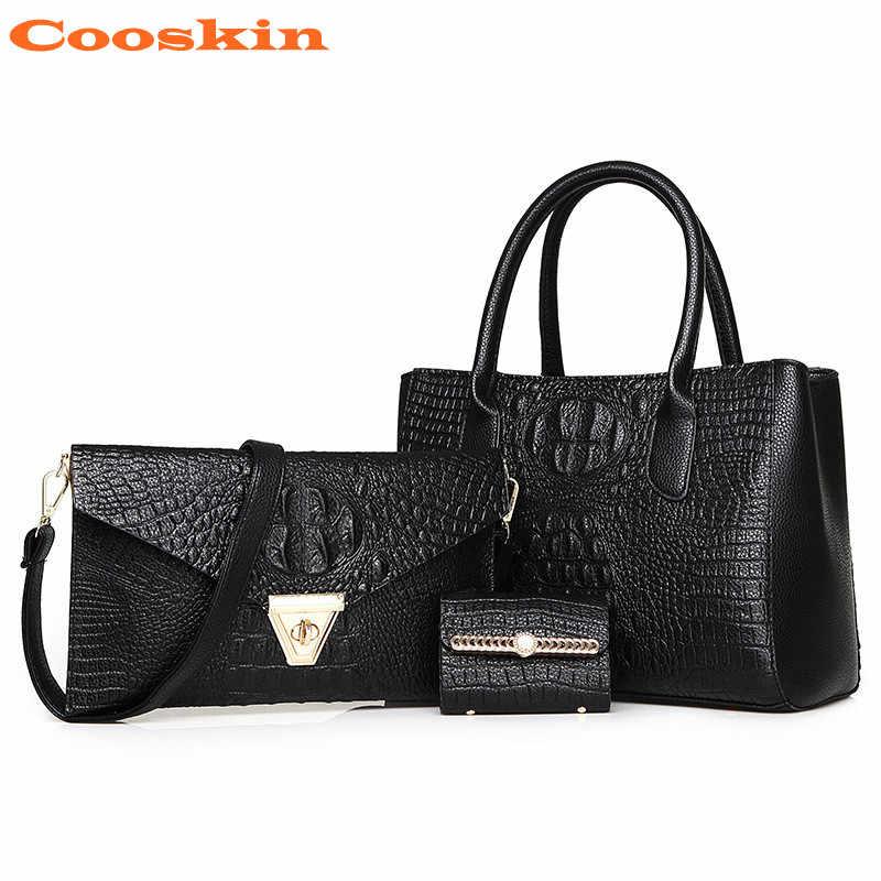 3 шт. в комплекте, черная, синяя, красная, Золотая сумка из кожи аллигатора, женская сумка на плечо, сумка-мессенджер