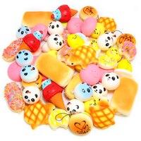 20Pcs Bag Random Squishies Toy Slow Rising Squishy Cream Scented Soft Panda Bread Cake Buns Squeeze