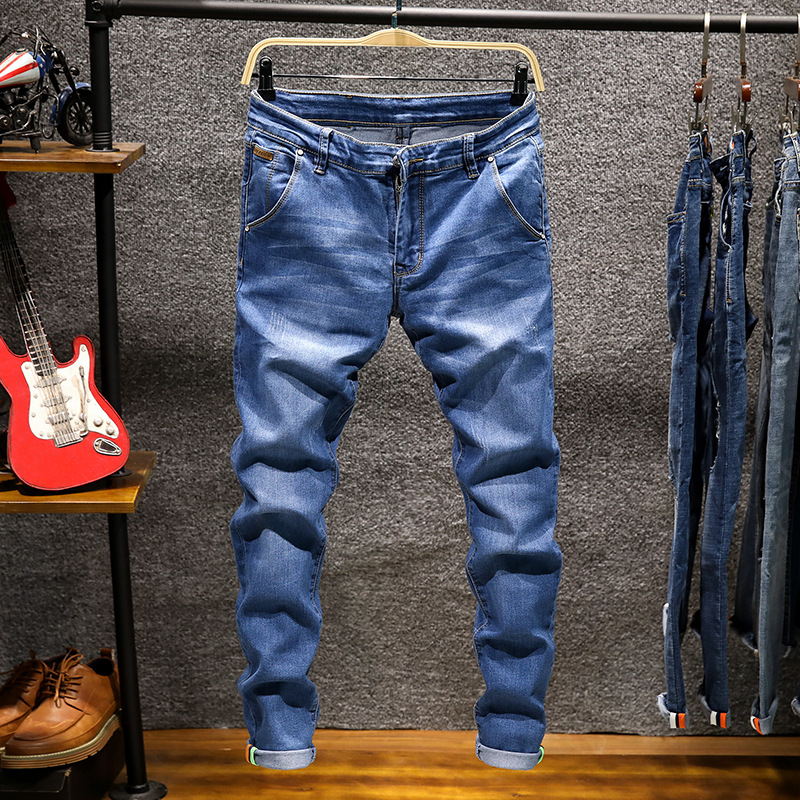 Skinny Jeans Pencil-Pants Drawstring Stretch Slim-Fit Denim Joggers Blue Male Casual